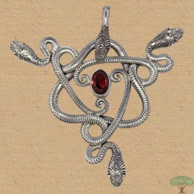 Anhänger 3 Schlangen Silber mit Granat